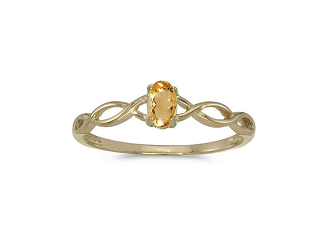 14k Yellow Gold Oval Citrine Ring (Size 4.5)