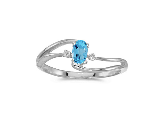 14k White Gold Oval Blue Topaz And Diamond Wave Ring (Size 7)