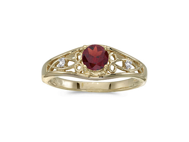 14k Yellow Gold Round Garnet And Diamond Ring (Size 9)