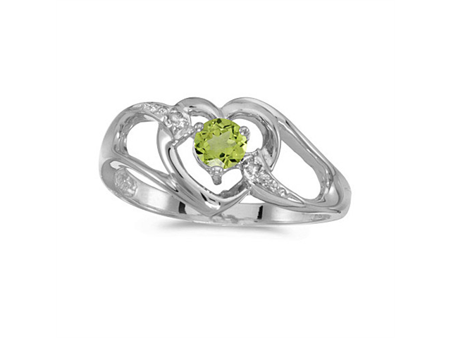 14k White Gold Round Peridot And Diamond Heart Ring (Size 4.5)