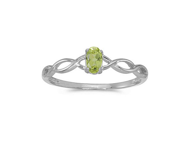 14k White Gold Oval Peridot Ring (Size 5.5)