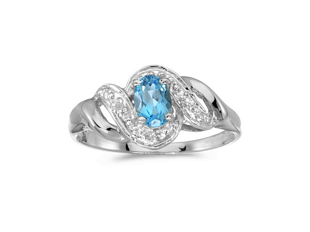 10k White Gold Oval Blue Topaz And Diamond Swirl Ring (Size 6.5)