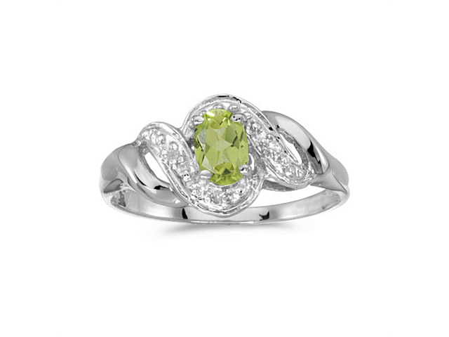 10k White Gold Oval Peridot And Diamond Swirl Ring (Size 7.5)