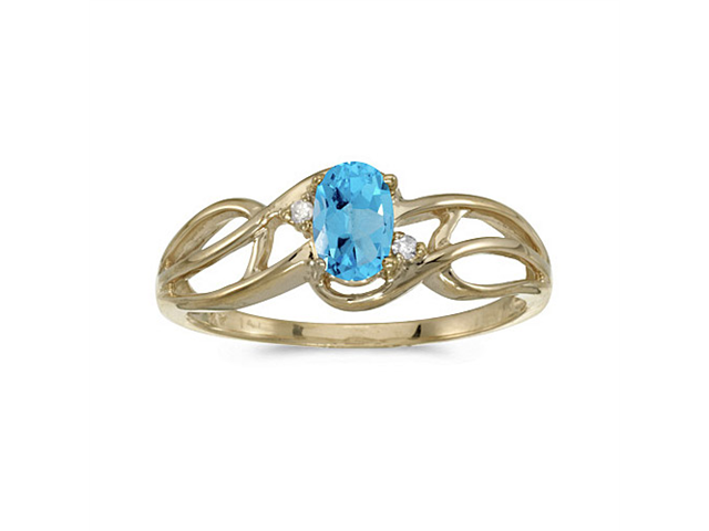 14k Yellow Gold Oval Blue Topaz And Diamond Curve Ring (Size 6)