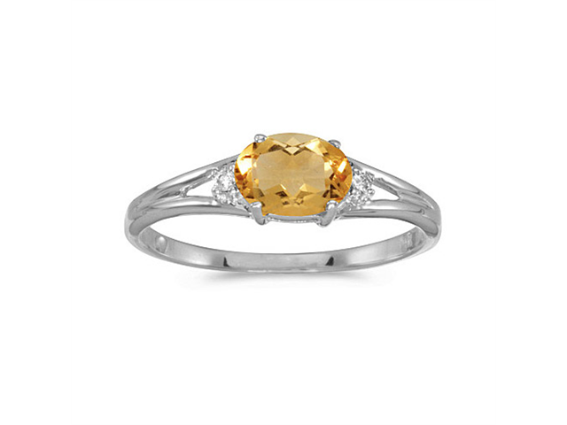 14k White Gold Oval Citrine And Diamond Ring (Size 7)