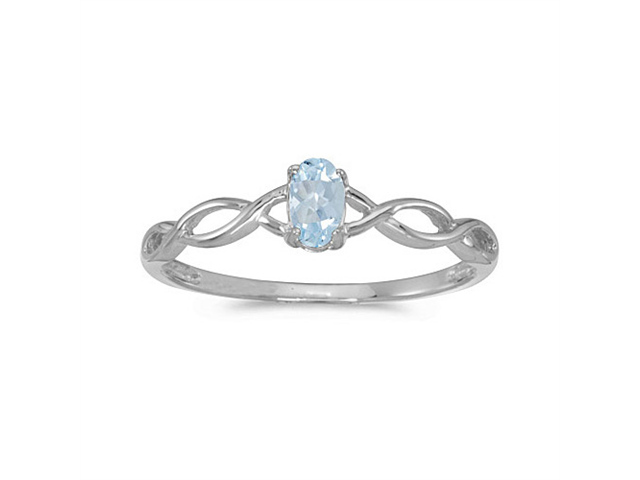 10k White Gold Oval Aquamarine Ring (Size 5)
