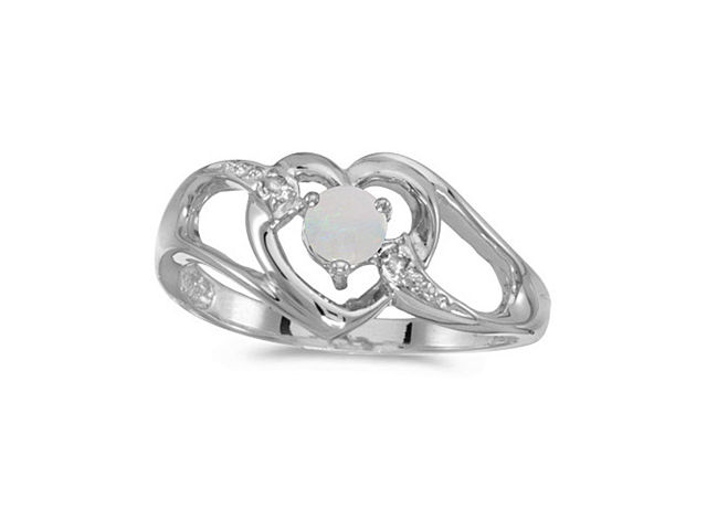10k White Gold Round Opal And Diamond Heart Ring (Size 6.5)