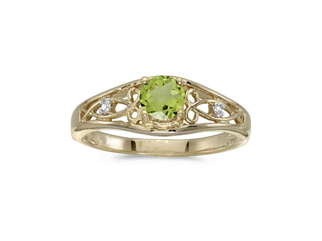 10k Yellow Gold Round Peridot And Diamond Ring (Size 6)