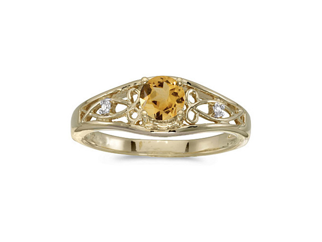 10k Yellow Gold Round Citrine And Diamond Ring (Size 8.5)