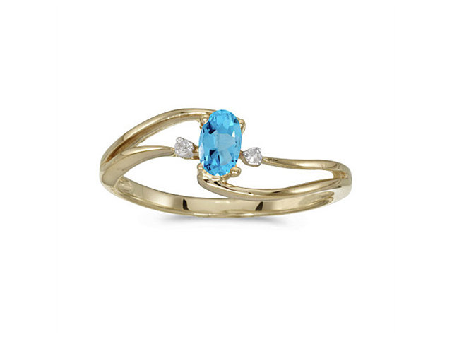 14k Yellow Gold Oval Blue Topaz And Diamond Wave Ring (Size 6)