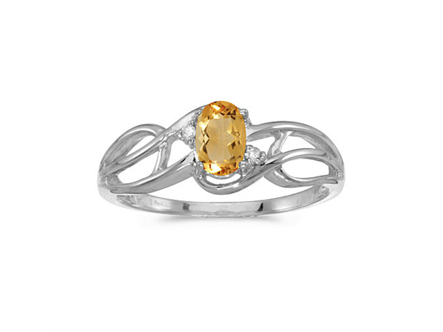 10k White Gold Oval Citrine And Diamond Curve Ring (Size 9.5)