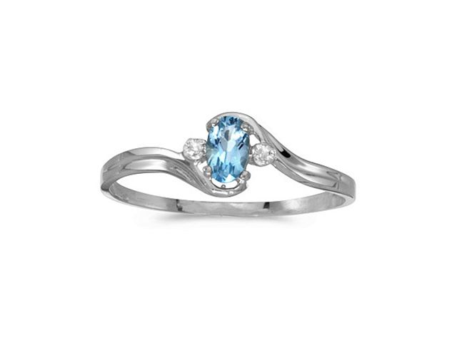 10k White Gold Oval Blue Topaz And Diamond Ring (Size 8.5)