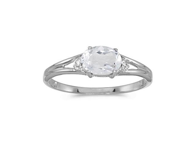 14k White Gold Oval White Topaz And Diamond Ring (Size 6)