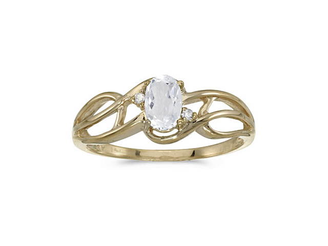 14k Yellow Gold Oval White Topaz And Diamond Curve Ring (Size 4.5)