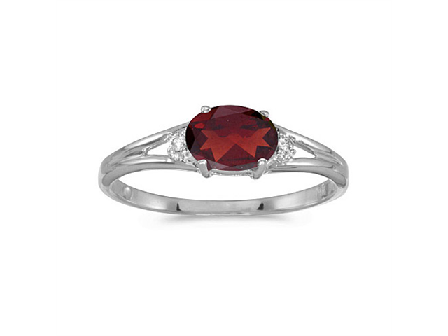 14k White Gold Oval Garnet And Diamond Ring (Size 5.5)