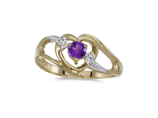 10k Yellow Gold Round Amethyst And Diamond Heart Ring (Size 5)