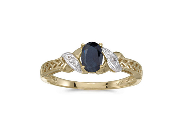 10k Yellow Gold Oval Sapphire And Diamond Ring (Size 10)