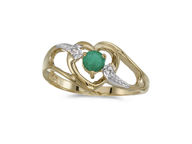 10k Yellow Gold Round Emerald And Diamond Heart Ring (Size 6)