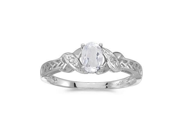 10k White Gold Oval White Topaz And Diamond Ring (Size 4.5)