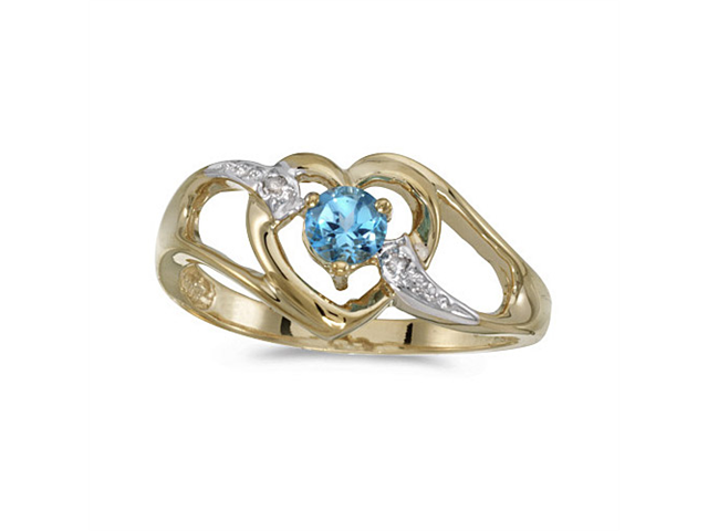 10k Yellow Gold Round Blue Topaz And Diamond Heart Ring (Size 6.5)