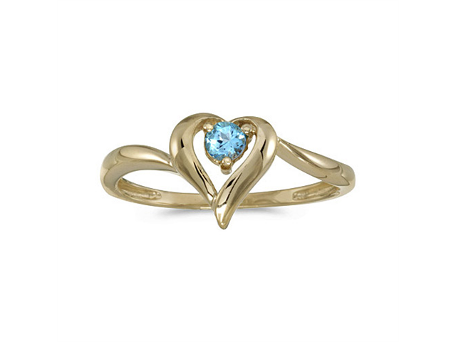 14k Yellow Gold Round Blue Topaz Heart Ring (Size 5.5)