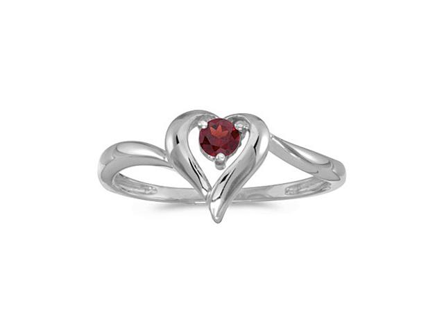 14k White Gold Round Garnet Heart Ring (Size 6.5)