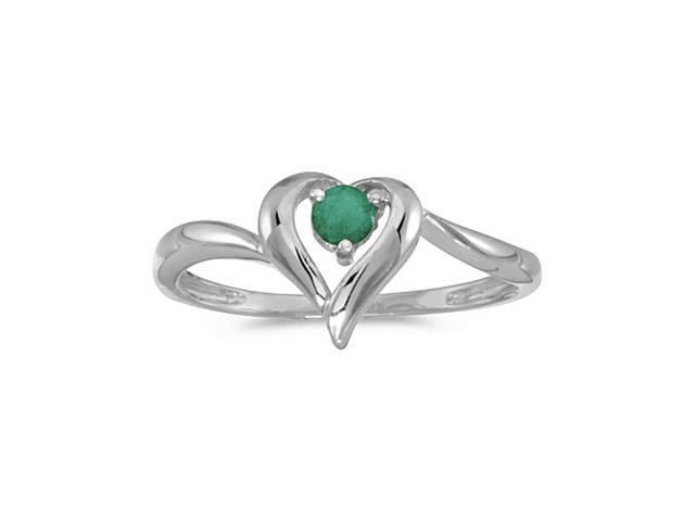 14k White Gold Round Emerald Heart Ring (Size 9)