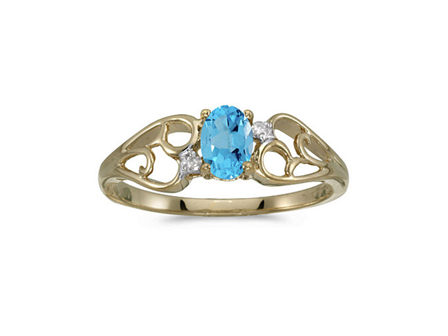 14k Yellow Gold Oval Blue Topaz And Diamond Ring (Size 6)