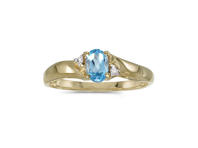 14k Yellow Gold Oval Blue Topaz And Diamond Ring (Size 8.5)