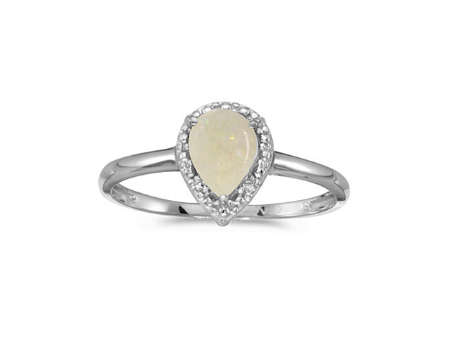 10k White Gold Pear Opal And Diamond Ring (Size 6)