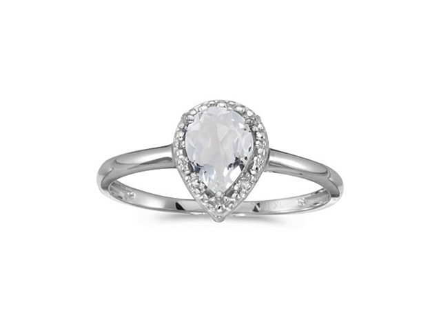 10k White Gold Pear White Topaz And Diamond Ring (Size 4.5)