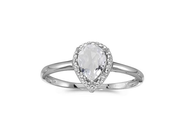 10k White Gold Pear White Topaz And Diamond Ring (Size 10)