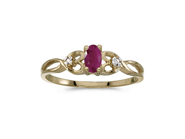 10k Yellow Gold Oval Ruby And Diamond Ring (Size 8)