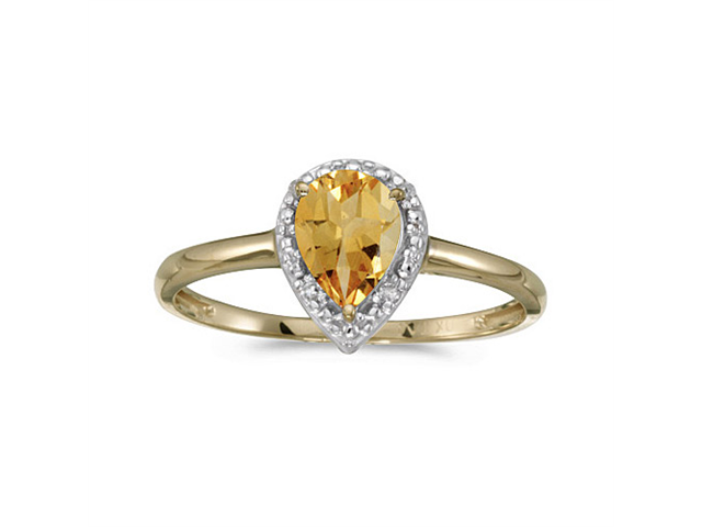 10k Yellow Gold Pear Citrine And Diamond Ring (Size 4.5)