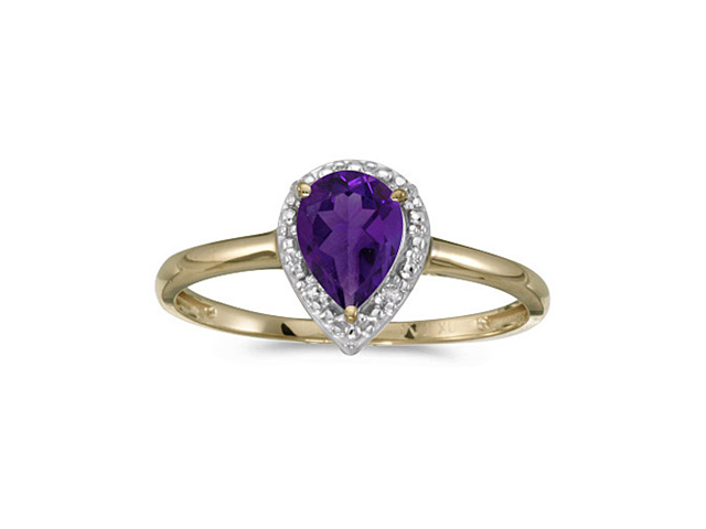 10k Yellow Gold Pear Amethyst And Diamond Ring (Size 6.5)