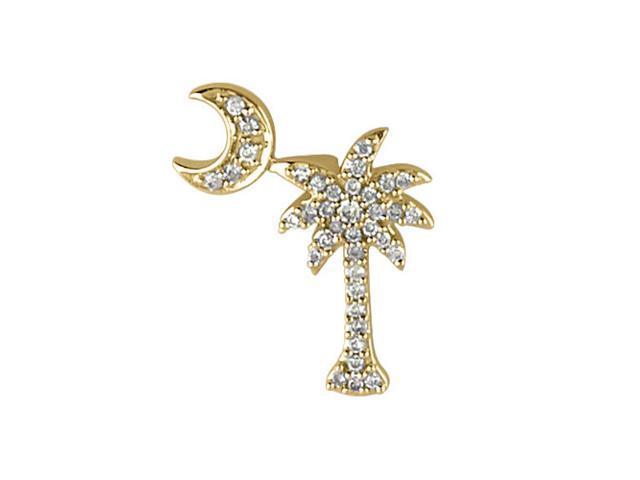 14K Yellow Gold .15 Ct Diamond Palm Tree and Crescent Moon Pendant with 18