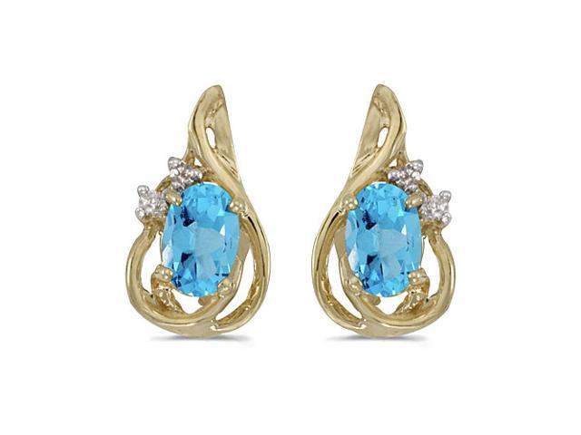 14k Yellow Gold Oval Blue Topaz And Diamond Teardrop Earrings