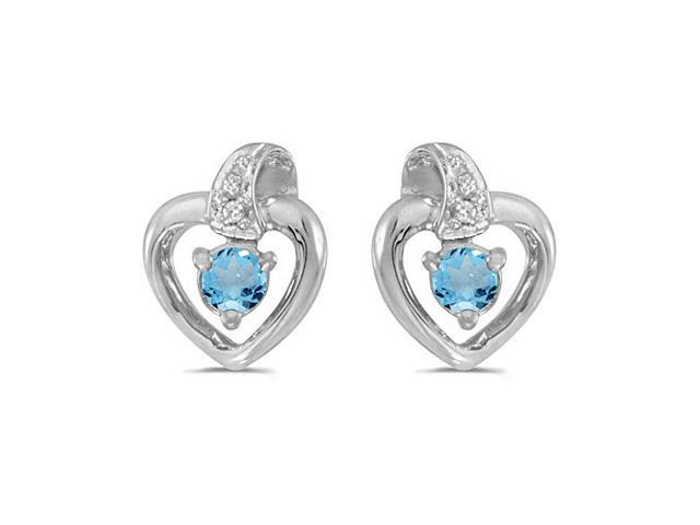 10k White Gold Round Blue Topaz And Diamond Heart Earrings