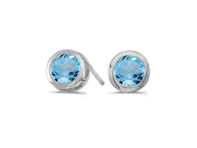 14k White Gold Round Blue Topaz Bezel Stud Earrings