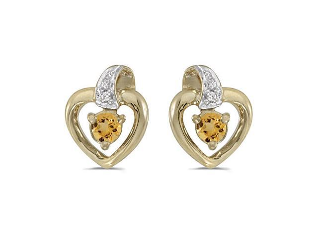 14k Yellow Gold Round Citrine And Diamond Heart Earrings