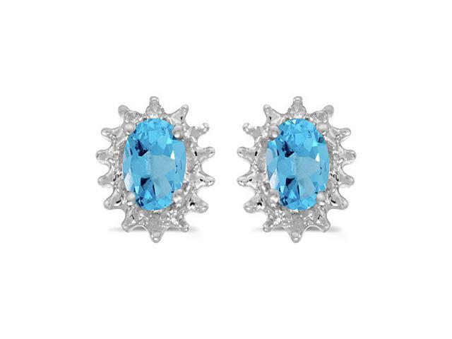 14k White Gold Oval Blue Topaz And Diamond Earrings