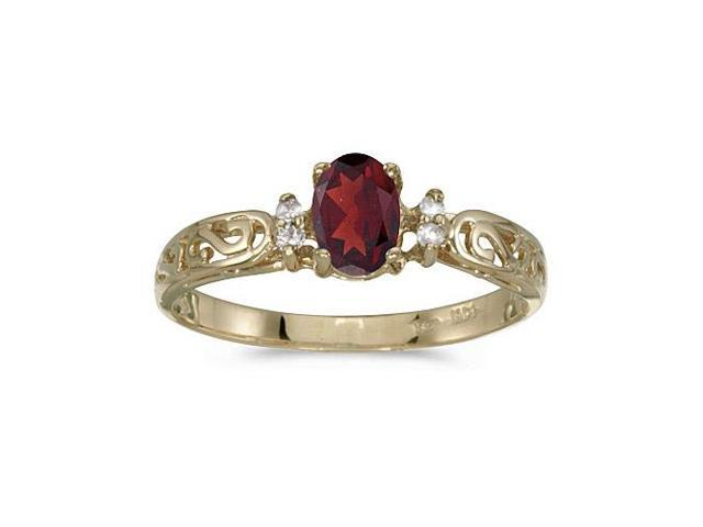 10k Yellow Gold Oval Garnet And Diamond Ring (Size 6)