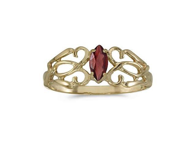 14k Yellow Gold Marquise Garnet Filagree Ring (Size 4.5)