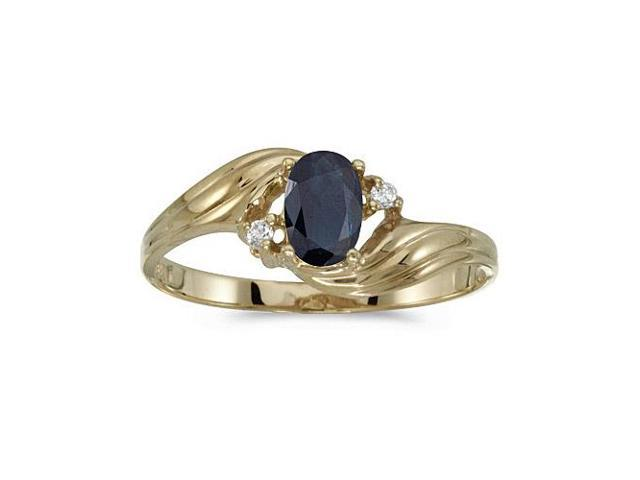 10k Yellow Gold Oval Sapphire And Diamond Ring (Size 6)