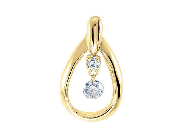 14K Yellow Gold Dashing Diamonds Pendant with 18