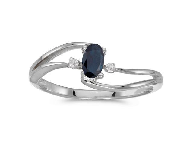 14k White Gold Oval Sapphire And Diamond Wave Ring (Size 8.5)