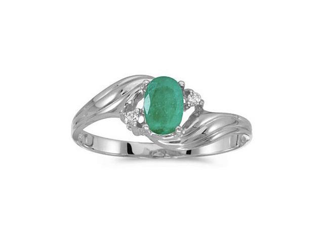 10k White Gold Oval Emerald And Diamond Ring (Size 10)