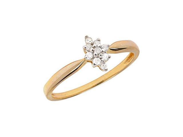 14K Yellow Gold Diamond Cluster Ring (Size 6.5)