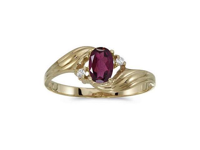 10k Yellow Gold Oval Rhodolite Garnet And Diamond Ring (Size 8.5)