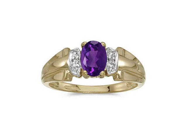 10k Yellow Gold Oval Amethyst And Diamond Ring (Size 4.5)
